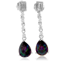 Pear Cut Mystic Topaz Silver Drop Earrings
