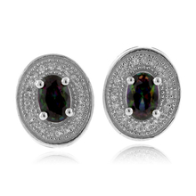 Smoked Topaz MicroPave Fashion Silver Earrings