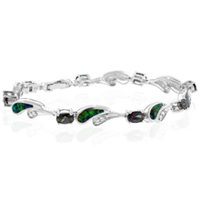 Oval Cut Smoked Topaz And Drop Green Opal Silver Bracelet