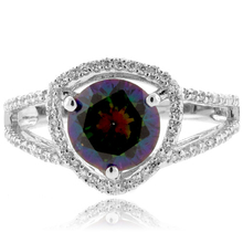 Mystic Topaz Round Cut .925 Sterling Silver Ring