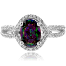 Mystic Topaz MicroPave Setting Sterling Silver Ring