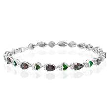 Green Opal And Mystic Topaz Elegant Silver Bracelet
