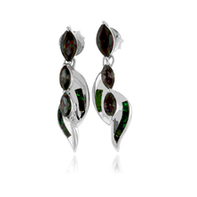 3 Stone Mystic Topaz and Green Opal Silver Earrings
