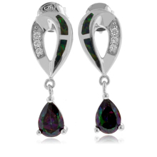 Green Opal with Mystic Topaz Sterling Silver Drop Earrings