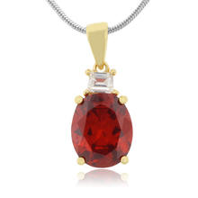 Oval Cut Mexican Cherry Stone Gold Plated Silver Pendant