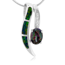 Fashion Oval Cut Topaz with Green Opal Silver Pendant