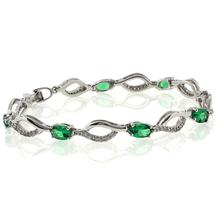 Oval Cut Emerald Stones Sterling Silver Bracelet