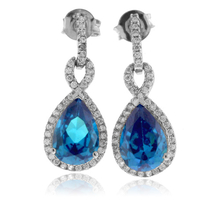 Pear Cut Blue Topaz Gemstone Earrings in .925 Silver