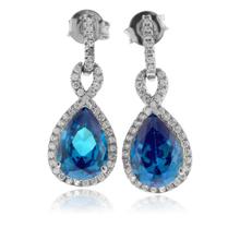 Pear Cut Blue Topaz Gemstone Earrings in .925 Silver