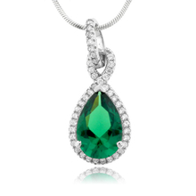 Pear Cut Framed Emerald Stone Silver Pendant