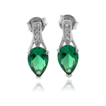 Elegant Pear Cut Emerald .925 Silver Earrings