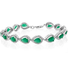Pear Cut Emerald Framed .925 Sterling Silver Bracelet