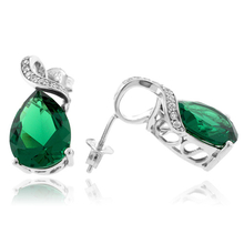 Very Elegant Pear Cut Emerald .925 Silver Earrings