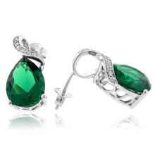 Very Elegant Pear Cut Emerald .925 Silver Earrings