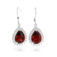 Pear Cut Mexican Fire Opal Framed Silver Earrings