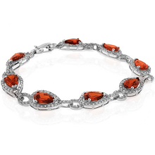 Pear Cut Mexican Fire Opal Sterling Silver Bracelet