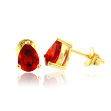 Pear Cut Mexican Fire Opal Gold Plated Silver Earrings
