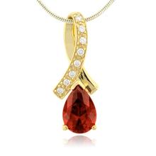 Elegante Dije con Opalo Rojo en Plata con Baño de Oro