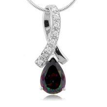Beautiful Pear Cut Mystic Fire Topaz .925 Silver Pendant