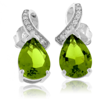 Pear Cut Peridot Earrings in .925 Silver