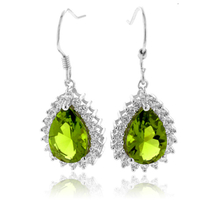 Pear Cut Peridot Fashion Silver Drop Earrings