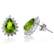 Pear Cut Peridot Framed Silver Earrings