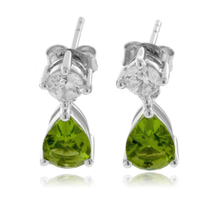 2 Stone Peridot .925 Sterling Silver Earrings