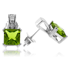 Princess Cut Peridot Very Elegant Sterling Silver Earrings