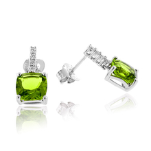 Princess Cut Peridot Fashion .925 Sterling Silver Earrings