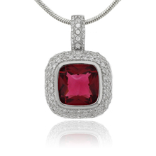 MicroPave Cushion Cut Tourmaline Sterling Silver Pendant