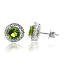 Round Cut Peridot Framed Silver Earrings