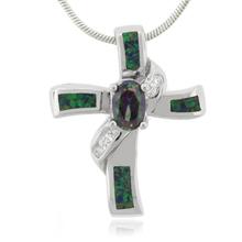 Australian Opal and Caribbean Topaz Silver Cross Pendant
