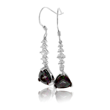 Trillion Cut Mystic Topaz Silver Drop Earrings