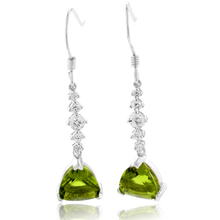 Trillion Cut Peridot Silver Drop Earrings