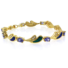 Tanzanite and Green Opal Silver 14k Gold Plated Bracelet