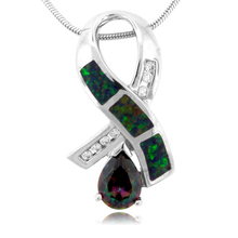 Fashion Pear Cut Topaz with Green Opal Silver Pendant