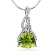 Trillion Cut Peridot Sterling Silver Necklace