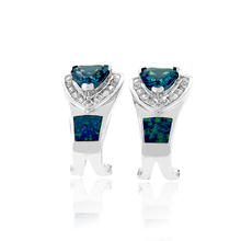 Trillion Cut Alexandrite and Australian Opal Silver Earrings with Omega Closure