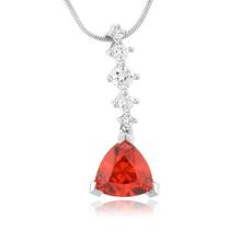 Trillion Cut Cherry Opal Silver Drop Pendant