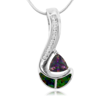 Trillion Cut Smoked Topaz and Opal Sterling Silver Pendant