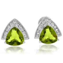 Beautiful Trillion Cut Peridot Earrings in .925 Silver