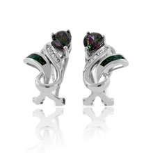 Very Elegant Mystic Topaz and Australian Opal Silver Earrings
