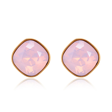 18K Gold Plated Opal Rose Swarovski Crystal Stud Earrings