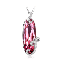 18K White Gold Plated Brilliant Pink Swarovski Necklace