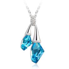 Collar Swarovski Azul Océano con Baño de Oro Blanco 18K