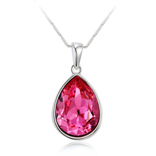 18K White Gold Plated Pink Swarovski Tear Necklace