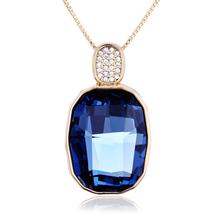 Collar Cristal Swarovski Azul con Baño de Oro Amarillo 18K