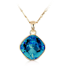18K Yellow Gold Plated Crystal Blue Swarovski Necklace