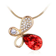 18K Yellow Gold Plated Red Butterfly Swarovski Necklace
