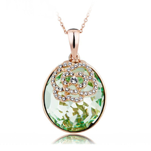 18K Yellow Gold Plated Oval Green Swarovski Necklace